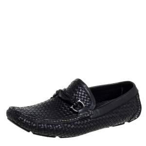 Salvatore Ferragamo Woven Black Leather Parigi Bit Loafers Size 44