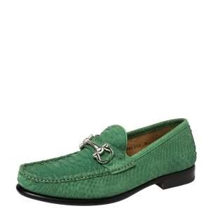 Salvatore Ferragamo Green Python Mason Slip On Loafers Size 42