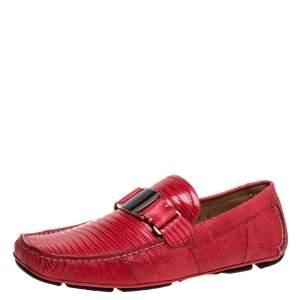 Salvatore Ferragamo Red Lizard Sardegna Loafers Size 44