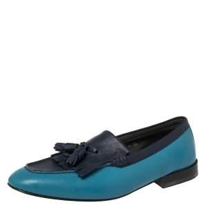 Salvatore Ferragamo Blue Leather Fringe Slip On Loafers Size 41.5
