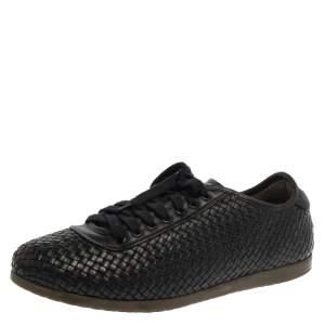 Salvatore Ferragamo Black Woven Leather Low Top Lace Sneaker Size 43.5