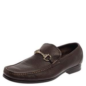 Salvatore Ferragamo Brown Leather Gancini Bit Loafers Size 43.5