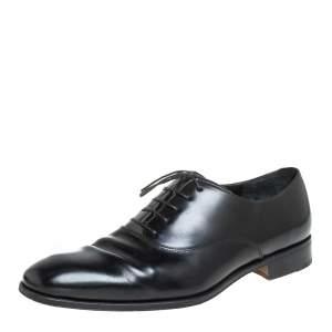 حذاء أوكسفوردز سالفاتوري فيراغامو جلد أسود برباط مقاس 44.5