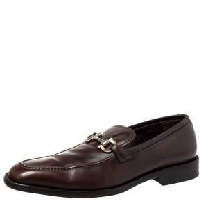 حذاء لوفرز سالفاتوري فيراغامو غانسيني بيت جلد بني مقاس 42.5