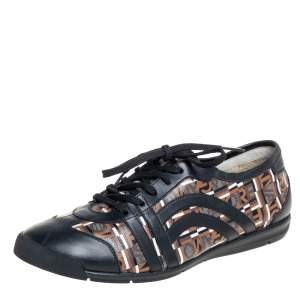 Salvatore Ferragamo Brown/Black Canvas And Leather Low Top Sneakers Size 43.5