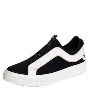 Salvatore Ferragamo Black/White Fabric And Rubber Answer Slip On Sneakers Size 44