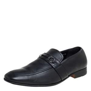 Salvatore Ferragamo Black Leather Slip On Loafers Size 43.5