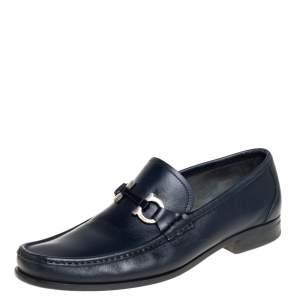 حذاء لوفرز سالفاتورى فيراغامو باريغى غانشينى جلد أزرق مقاس 42.5