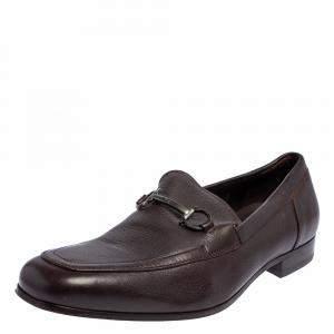 Salvatore Ferragamo Dark Brown Leather Gancini Bit Slip On Loafers Size 43.5