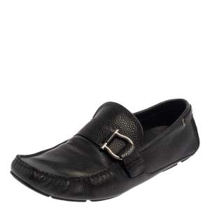 Salvatore Ferragamo Black Leather Gancio Slip On Loafers Size 44