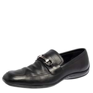 Salvatore Ferragamo Black Leather Loafers Size 44.5