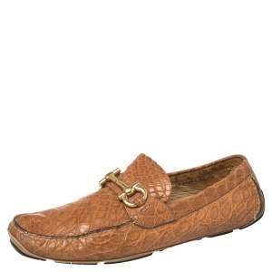 Salvatore Ferragamo Light Brown Croc Leather Parigi Slip On Loafers Size 45