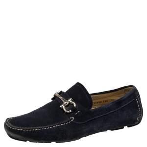 حذاء لوفرز سالفاتوري فيراغامو غانشيني سويدي أزرق مقاس 41.5