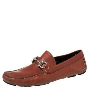 حذاء لوفرز سالفاتوري فيراغامو غانشيني جلد أحمر مقاس 43