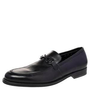 Salvatore Ferragamo Black Leather Gancini Bit Loafers Size 44