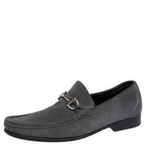 Salvatore Ferregamo Grey Suede Gancini  Loafers Size 43.5