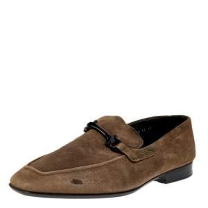 Salvatore Ferragamo Grey Suede Gancini Slip On Loafers Size 45