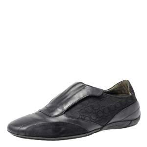 Salvatore Ferragamo Black Leather And Signature Canvas Slip On Sneakers Size 42