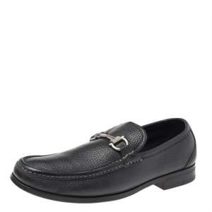Salvatore Ferragamo Black Leather Gancini Slip On Loafers Size 41