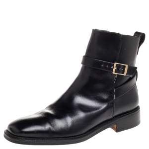 Salvatore Ferragamo Black Leather Buckle Ankle Boots Size 41.5