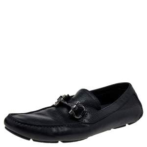 Salvatore Ferragamo Black Leather Gancini Bit Slip On Loafers Size 45