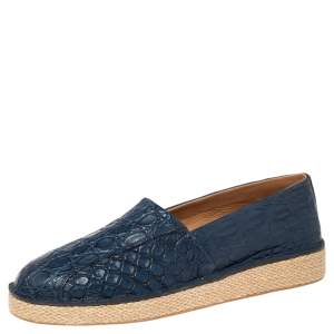 Salvatore Ferragamo Navy Blue Crocodile Leather Lampedusa Espadrilles Size 42