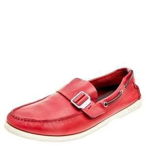 Salvatore Ferragamo Red Leather Slip On Loafers Size 46