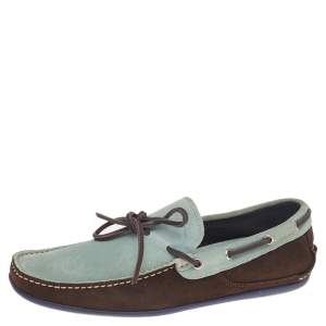 Salvatore Ferragamo Mint Green/Brown Suede And Leather Slip On Loafers Size 41.5