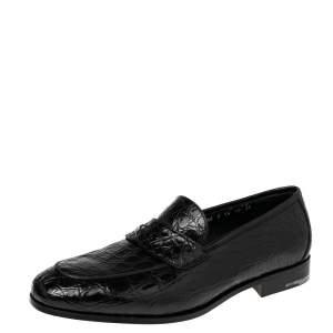 Salvatore Ferragamo Black Crocodile Leather Pablo Slip On Loafers Size 44
