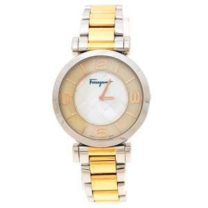 Salvatore Ferragamo Mother Pearl Two-Tone Stainless Steel Gancino FG3060014 Women's Wristwatch 39 mm