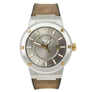 Salvatore Ferragamo Two-Tone Stainless Steel Leather F-80 FIF070016 Men's Wristwatch 44 mm
