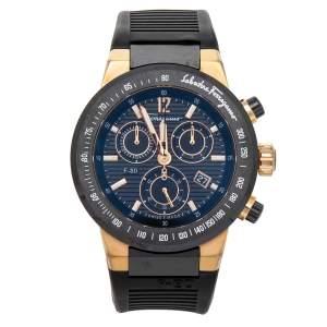 Salvatore Ferragamo Black Ceramic Rose Gold Stainless Steel Rubber F-80 Chronograph Men's Wristwatch 44 mm