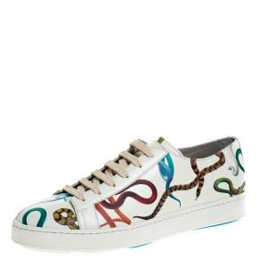 Santoni White Leather Snake Print Low Top Sneakers Size 42