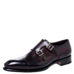 Santoni Burgundy Leather Double Buckle Monk Derby Size 42.5