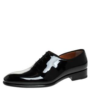 Santoni Black Patent Leather Lace Up Oxfords Size 39