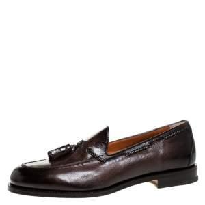 Santoni Brown Leather Tassel Detail Slip On Loafers Size 43