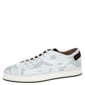 Santoni White Perforated Leather Low Top Sneakers Size 41.5