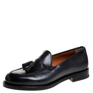 Santoni Grey Leather Tassel Detail Slip On Loafers Size 41