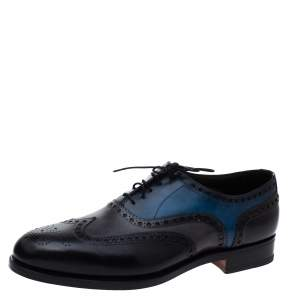 Santoni Tricolor Brogue Leather Garrick Oxfords Size 44.5
