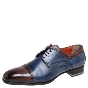 Santoni Blue/Brown Brogue Leather Lace Up Derby Size 43