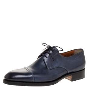 Santoni Blue Leather Derby Size 42