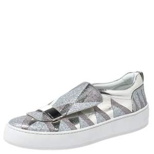 Sergio Rossi Silver Metallic Leather and Glitter Blair Slip on Sneakers Size 41
