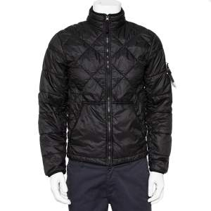 Stone Island Black Synthetic Quilted Zip Front Jacket M