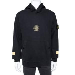 Supreme X Stone Island Black Cotton Knit Sweatshirt L
