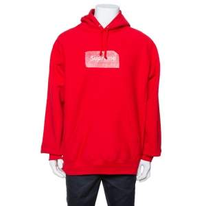 Supreme Red Cotton Swarovski Box Logo Hoodie XL