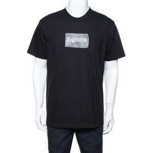 Supreme Black Cotton Swarovski Box Logo Crew Neck T-Shirt M