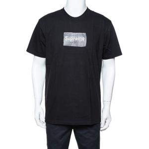 Supreme Black Cotton Swarovski Box Logo Crew Neck T-Shirt M