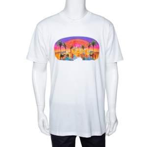 Supreme White Printed Cotton Crew Neck T Shirt L
