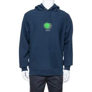 Supreme Midnight Blue Apple Logo Print Cotton Hoodie M