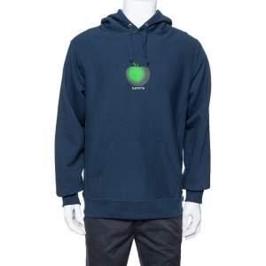 هودي سوبريم قطن مطبوع شعار الماركة تفاحة أزرق ميدنايت مقاس وسط (ميديوم)